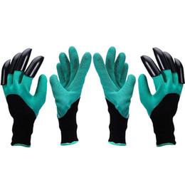 Водонепроницаемые садовые перчатки онлайн-Сад Джинн перчатки с кончиками пальцев когти зеленый копать и завод безопасной обрезки перчатки сад водонепроницаемый копать перчатки OOA1379