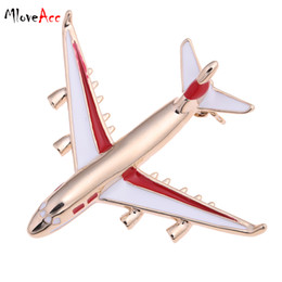 Wholesale Airplane Clothes - Wholesale- MloveAcc 2016 Cute Little Airplane Brooch Enamel Gold Plated Metal Brooches Pin Model Fighter Aircraft Jewelry Suit Clothes Cl