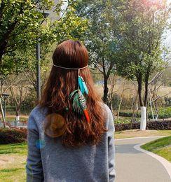 Wholesale Hair Accessories Carnival - Bohemia Women Feather Headband Beads Double Layer Velvet Chain Hair Rope Head Hair Band Carnival Festival Hair Accessories H001