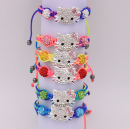 Wholesale Shamballa Kids Bracelet - Wholesale- 10pcs   lot wholesale cheap kid children colorful bracelet colour cords hello kitty shamballa bracelet free shipping
