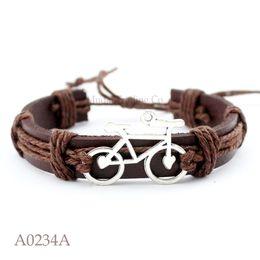 Wholesale Charms For Bracelets Bike - (10PCS lot) ANTIQUE SILVER Bicycle Bike Charm Adjustable Leather Cuff Bracelet for Men & Women Punk Friendship Jewelry Gift