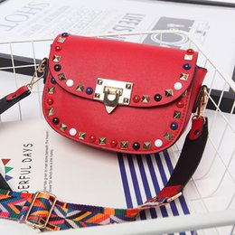 Wholesale han bags - The new spring and summer of 2017 female bag han edition tide rivet small square bag leisure shoulder inclined across wide straps small bag