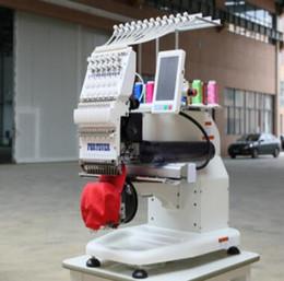 Wholesale Machine For T Shirt - cap embroidery machines Mini DIY Single head 12 needles commercial computerized embroidery machine for caps towel finished garments T shirt