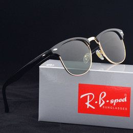 Wholesale Red Outdoor - Brand design 2017 Hot sale half frame sunglasses women men Club Master Sun glasses outdoors driving glasses uv400 Eyewear whit brown case