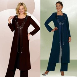 Wholesale Elegant Jackets For Wedding - Elegant Mother Of The Bride For Wedding Three Pieces Beads Tassel Formal Pants Suits Long Sleeve Chiffon Mothers Groom Suits with Jacket