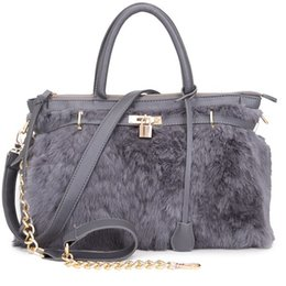 Wholesale Real Fur Handbags - Wholesale- Real Rabbit Fur Handbags Women Guarantee Lady Tote Purse Crossbody Messenger Bags Fashion 2015 Famous Designer Brand Handbags
