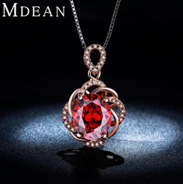 Wholesale Crystal Necklace Pendents - 3CT Red Crystal Vintage Necklace 18K Rose Gold Plated CZ Diamond Jewelry Pendents Necklaces For Women Wedding Party Accessories kkN010