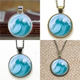Wholesale Nautical Link Necklace - 10pcs Wave Beach Tsunami Ocean Surfer Nautical Art Necklace keyring bookmark cufflink earring bracelet