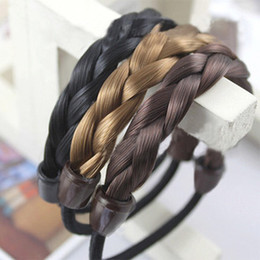 Wholesale Color Braided Elastic Band - Sara Elastic Hair Band Braids Hairband Hair Tie Scrunchie Accessories Rope Ponytail Holders 5PCS Lot
