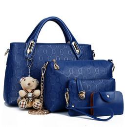 Wholesale Bear Clutch Bag - 5 Colors Newest Fashion 4 Pieces Shoulder Bags Totes Clutch OL Women Bags PU Leather Messenger Bag Designer Handbags with Cute Bear