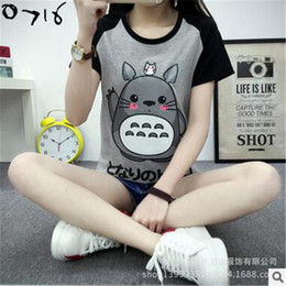 Wholesale Couples Animation - Wholesale-Fashion Animation Totoro T-shirts Women O-neck T Shirts For Women Tee Tops Girl Casual T Shirt Couple Tshirt