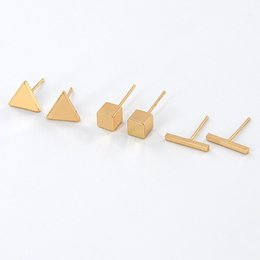 Comercio al por mayor Simple Simple Simple Barra Triángulo Cubo Forma Geométrica Pendientes Oro Plata Plateó Pendiente de La Manera Joyería Mujeres Regalo EFE046 desde fabricantes