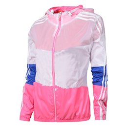 Wholesale Thin Breathable Coat - 2017 Women Summer Fashion Rainbow Color Sun UV Protection Clothing Female Hooded Jacket Thin Breathable Beach Cardigan coats