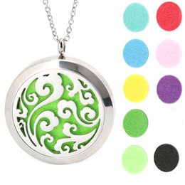 Wholesale Stainless Steel Pendant Round - 10pcs Round Silver Ocean magnet locket Stainless Steel Premium Aromatherapy Essential Oil Diffuser Necklace With Free chain and Pads