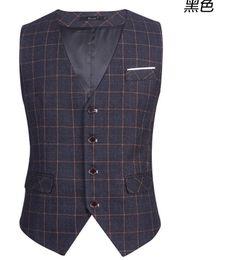Wholesale Men Suspender Suit - Wholesale- New Fashion Men's Suit Vest Casual Vest Slim Fit Luxury business Dress Waistcoat Vest for men
