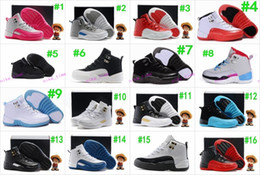 Wholesale Red Gold Kid - Boys Girls Retro 12 Kids Basketball Shoes Childrens 12s Gym Red 12s Barons Wolf Grey French Blue Sports Shoes Toddlers Birthday Gift