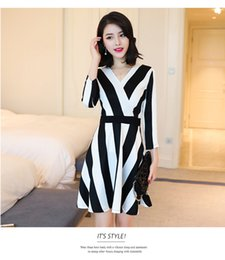 Wholesale Tight Dress Casual Lady - autumn Ladies Dresses Black plus white Spell color vertical Striped Polyester Tight dress Short sleeves women OL business wear