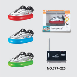 Wholesale Sticker Boat - 24pcs lot HappyCow 777-220 Mini RC Hovercraft Vanguard RC Boat 4CH Radio Remote Control Racing Boat RC Boats 3-Colors Speedboat Toy for Kids