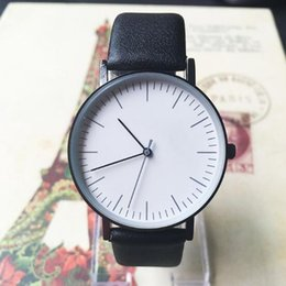 Wholesale Sport Straps For Glasses - Wholesale Fashion Simple Men Luxury Quartz Movement Watches Brand Designer Round Dial PU Leather Strap Waterproof Leisure Watch For Students