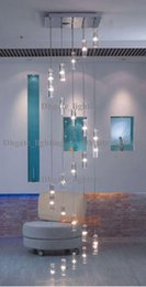 Wholesale Modern Crystal Chandelier Square - hotel Staircase Chandelier modern Lighting Fixture square Chandelier rain drop lighting Spiral stairway crystal chandeliers Stainless Steel