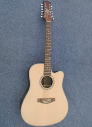 Wholesale Sky Blue Guitar - free shipping Black side 12 strings Acoustic Guitar veneer picea asperata Body Rosewood Fingerboard Can send pictures customization