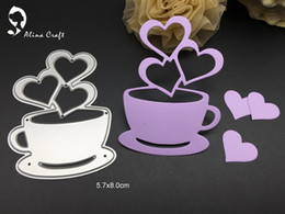 Wholesale Love Heart Coffee Cup - METAL CUTTING DIES coffee cup love sweet heart relax Scrapbook album embossing stencils PAPER CRAFT template cutter