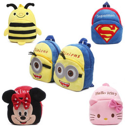 Wholesale Cute Boy Lovely - New cute kids school bag cartoon mini plush backpack toy for kindergarten boy girl baby Children's gift student lovely schoolbag