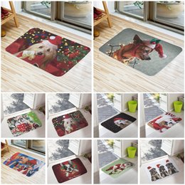 tappeti intrecciati all'ingrosso Sconti Benvenuti Tappetini Buon Natale Cute Dog Stampa Bagno Cucina Tappeti Casa Zerbini per Living Room Anti-Slip Tapete Tappeto 16X24inch