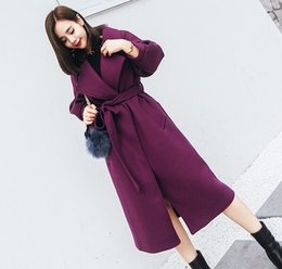 Wholesale Wool Cashmere Coat Sale - New Arrival Hot Sale Fashion Noble Female Slim High Quality Morality Show Thickness Purple Cocoon Woollen Long-Sleeved Trench Coat