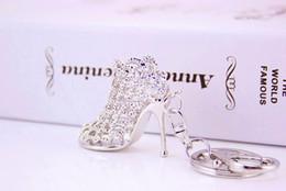 Wholesale Women Wholesale Trendy High Heels - 100Pcs lot 4*5.6cm zinc alloy gold sliver high-heeled shoes Keychain women fashion car key chains metal bag keychain