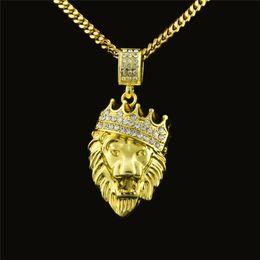Wholesale Chain Linked Necklace Lion - Gold Lion Head Crown Pendants Necklace Fashion Hiphop long Gold-color Plated Statement Hiphop Necklace Chain Men Jewelry NP179