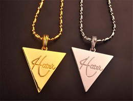 Wholesale Invert Pendant - 2017 punk gold chains for men necklace Metal Inverted triangle Pendant sweetheart Necklace statement Hip hop Jewelry wholesale free shipping