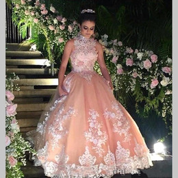 Wholesale Dress 15 Years - Sweet 16 Year Lace Champagne Quinceanera Dresses 2017 vestido debutante 15 anos Ball Gown High Neck Sheer Prom Dress For Party BA4931