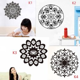 removable wall sticker plane Promo Codes - K1-4 Customized Mandala Wall Sticker Vinyl Yoga Mandala Wall Decal Flowers Sticker Forals Murals for Couple Religious Home Decoration