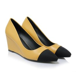 Wholesale Fighting Female - 2017 slope documentary shoes female spring and autumn new high heels to fight the color of the light point of the mouth to help women's shoe