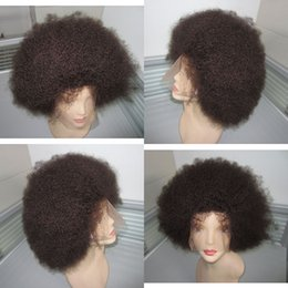 Wholesale small cap wigs - 12inch natural color afro curly human hair indian full lace wig for black women lace front wig cap