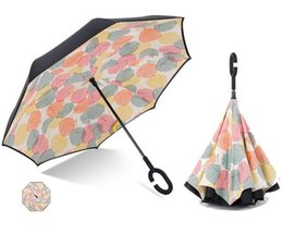 Wholesale Fishing Plastic Fish - Windproof Reverse Folding Double Layer Inverted Chuva Umbrella Self Stand Inside Out Rain Protection C-Hook Hands Free Shipping