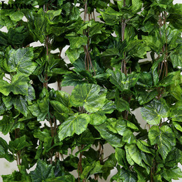 All'ingrosso-10PCS come il vero artificiale Seta foglia d'uva ghirlanda finto vite Ivy Indoor / outdoor home decor fiore matrimonio regalo di Natale verde da