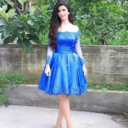 Wholesale Red Homecoming Dresses Strapless - Royal Blue Knee Length Ball Gown Homecoming Dresses 2017 Strapless Full Sleeve Appliques vestidos de festa Formatura Evening Gowns