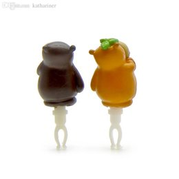 Wholesale Cute Anti Dust Plug Stopper - Wholesale-A Pair of Cute And Funny 3D Bear Shape Lovers Mobile Phone Earcap Earphone Stopper Anti Jack Dust Plug For All 3.5mm Earphone