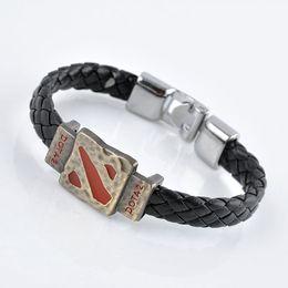 Wholesale Feather Wristband - Metal Dotas 2 Game Leather Bracelet Men Bracelet Men Jewelry Boy Gift Cosplay Bangles Feather Braided Wristband Bracelet