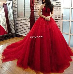 Wholesale Sweet Halter Neck Dress - 2017 Elegant Red Ball Gown Evening Dressees Halter Appliques Tulle Backless Pearls Chapel Train Prom Gowns Quinceanera Sweet Sixteen Dresses