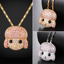 Wholesale Poodle Jewelry - U7 Cute Poodle Sheep Pendant Necklace Gold Platinum Plated AAA+ Cubic Zironica Lucky Pet Jewelry Gift Chain for Men Women P2579