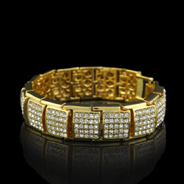 Wholesale Premium Ice - 2017 High Quality Premium Men's Luxury Simulated Diamond Gold  Silver Gun Fashion Bling Iced Out Bracelet High Promotion