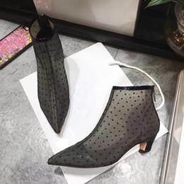 Wholesale Womens Elegant Heels - 2018 Summer Net yarn Boots Womens Pointed toe Ankle Shoes Elegant Style Ladies Booties
