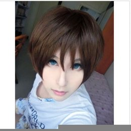 Wholesale Eren Cosplay Wig - ePacket free shipping Fashion Man Brown Straight Hair Attack on Titan Eren Jaeger Anime Cosplay Wigs