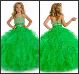 Wholesale Sweet Halter Neck Dress - Green Dresses Sweet Gilrs Wear Halter Neck Crystal Sequin Beading Backless Sexy Ball Gown Pipings Elegant Sleeveless Girl's Pageant Dresses