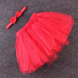 Wholesale Gauze Skirt Bowknot - Wholesale- Fashion Baby Girls Multilayer Gauze Bubble Tutu Skirt with Exquisite Bowknot Elastic Headband Kids Children Clothing Photo Props