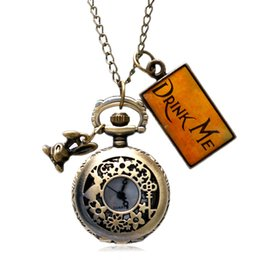 Wholesale Pocket Watch Alice - Wholesale-New Fashion Small Pocket Watch Alice in Wonderland Necklace Charm Drink Me Pendant Watches Women Gift