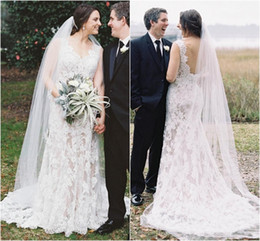 Wholesale Classy Backless Dresses - Vintage Sheath Lace Wedding Dresses White Applique V-Neck Elegant Backless Bridal Gowns Mermaid Style Classy Gorgeous Bride Dress Modest New